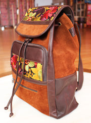 Leather and Suede Backpack Large- Mocha - Floating Lotus