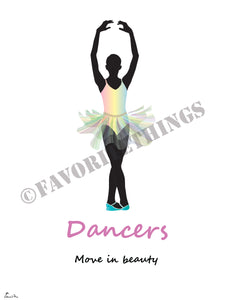 Ballet dancer or ballerina silhouette illustration | Fairy two-layer bell tutu: Dancers move in beauty
