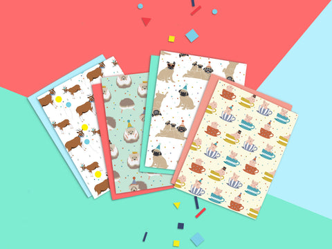 Party Animal Cards/ A Set of 4 Cards