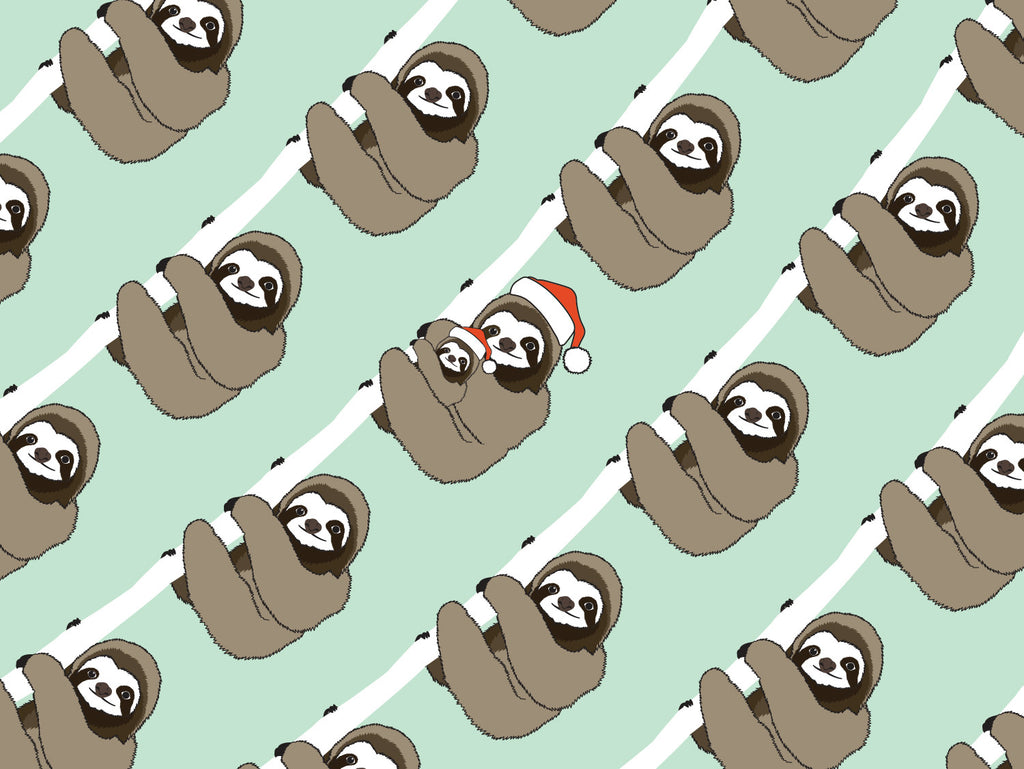 Christmas Sloth Pattern Card | Pattern Paper Co.