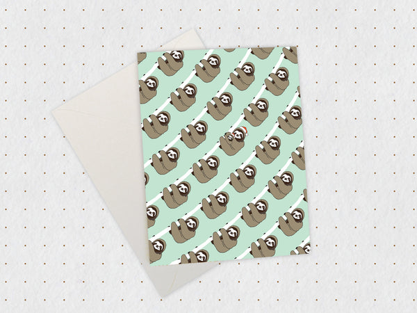Christmas Sloth Pattern Card