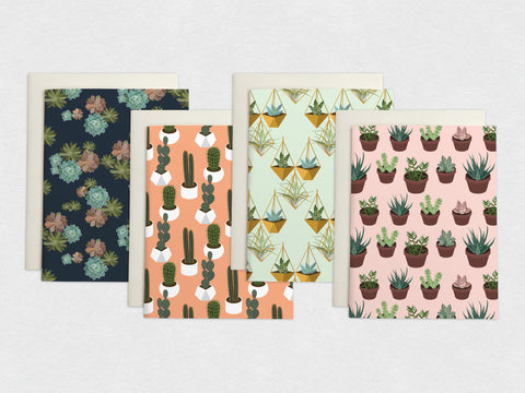 Succulent & Cactus Plants - 4 Card Set
