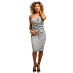 Grey V-Neck Belt Dress