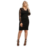 Laced Sleeves Deep V-Neck Dress
