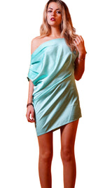 Blue as sky One Side Off Shoulder Dress