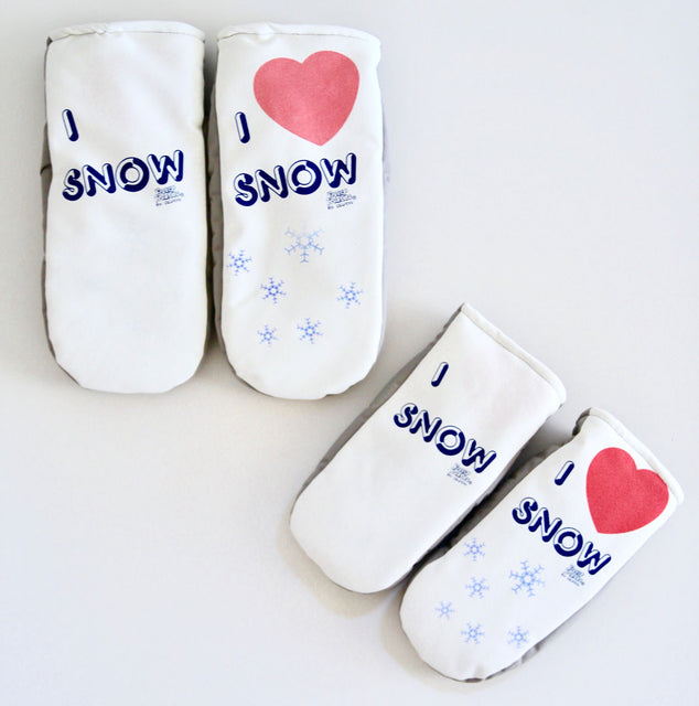 I Love Snow mitten Freezy Freakies in kid and adult versions