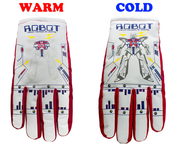 Freezy Freakies adult gloves Robot design with warm cold comparison