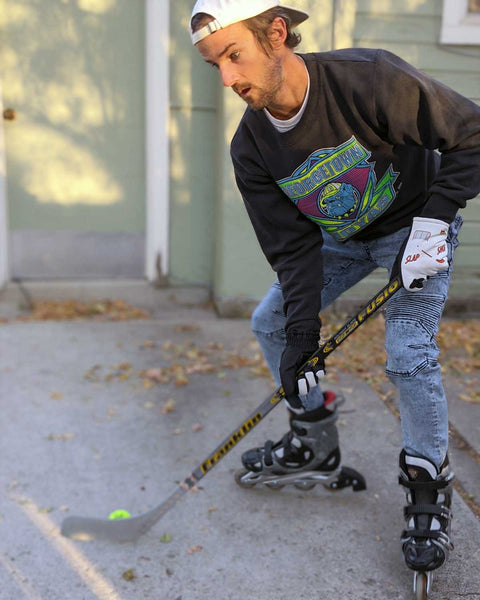 Freezy Freakies Slap Shot Hockey gloves getting their street hockey game on
