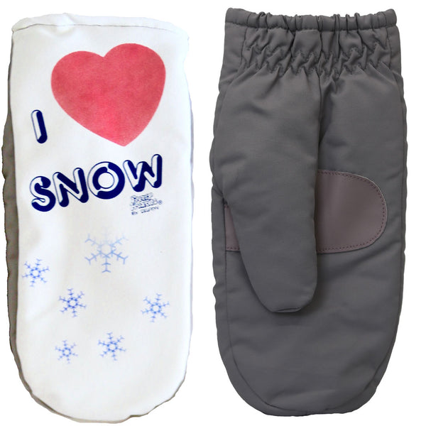 I Love Snow mittens front and back of glove