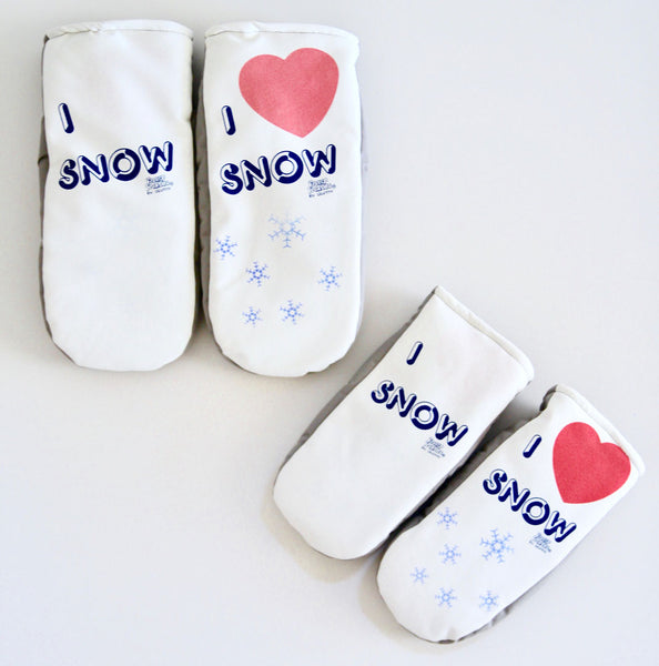 I Love Snow mittens in adult and kids sizes