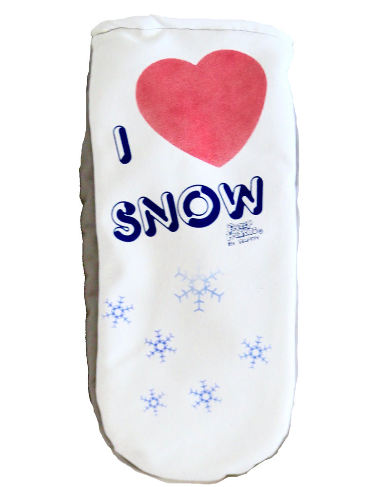 I Love Snow mittens with color-changing heart and snowflakes
