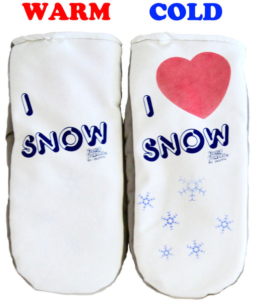 I Love Snow mittens warm cold comparison