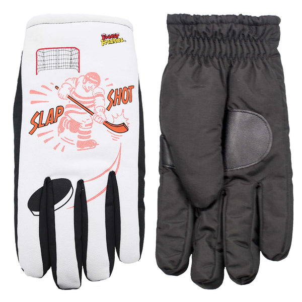 Slap Shot Hocker Freezy Freakies Color-Changing Winter Gloves showing front and back