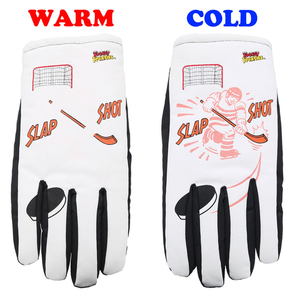 Slap Shot Hocker Freezy Freakies Color-Changing Winter Gloves with warm and cold comparison