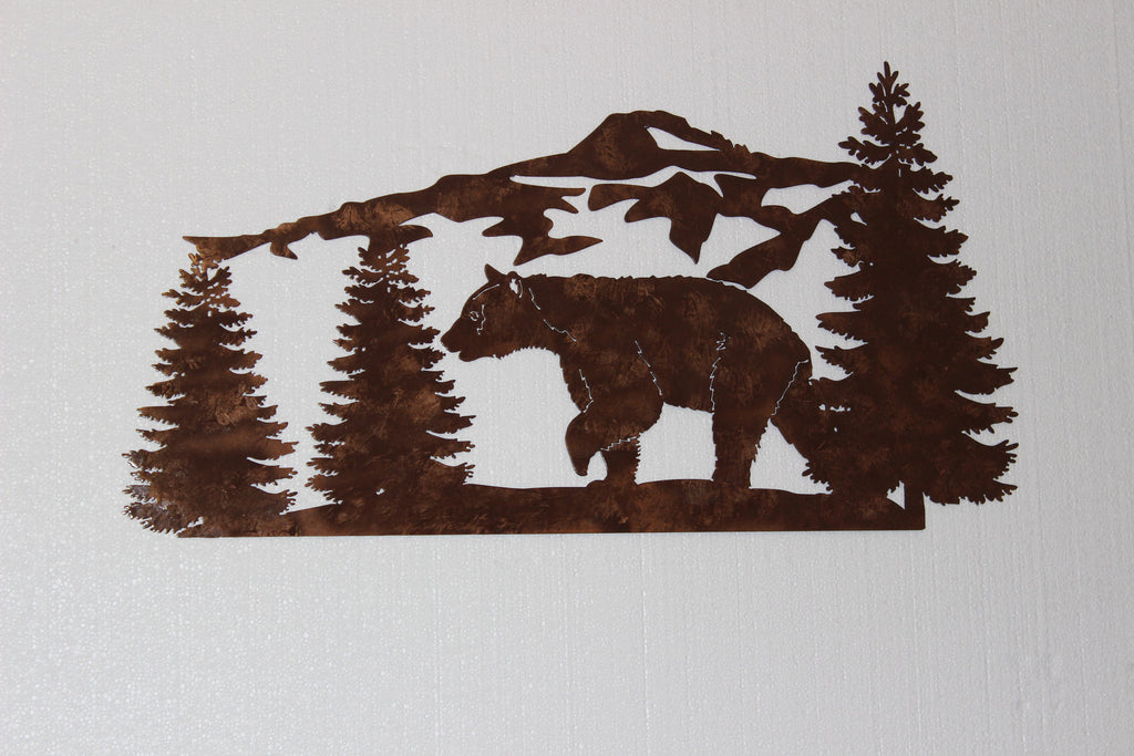 Large Metal Wall Art bear and mountain pine tree scene large metal wall art country
