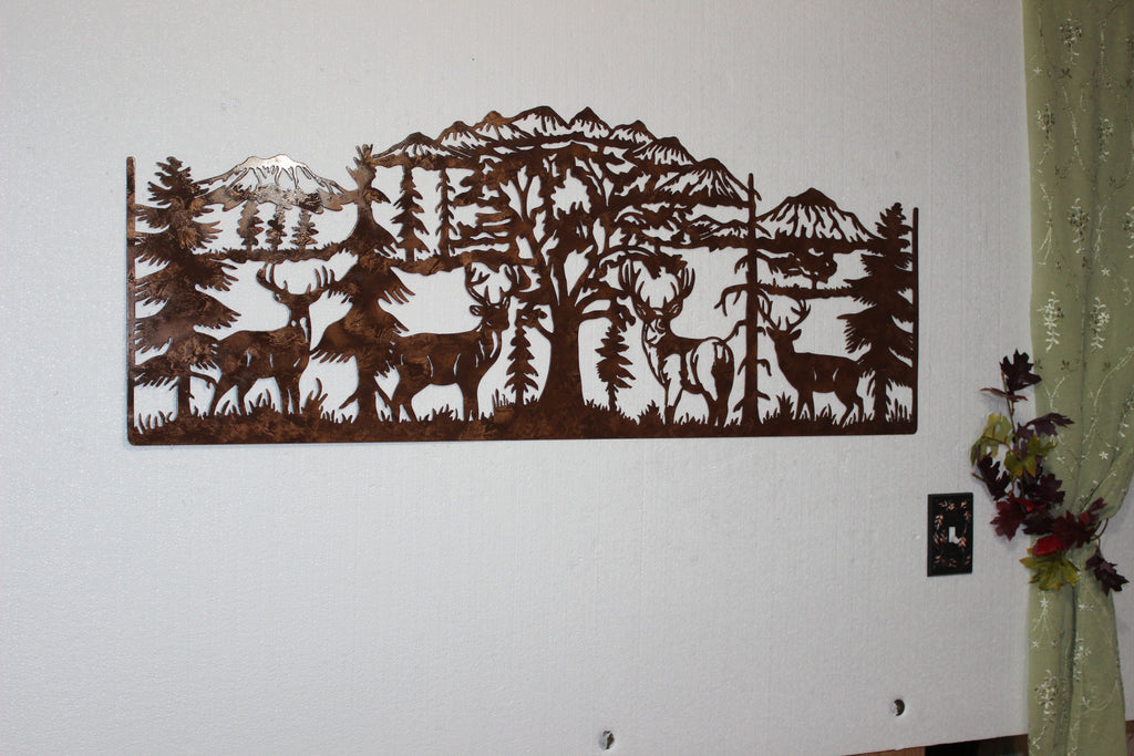 Large Metal Wall Art deer mountain scene with 4 majestic bucks large metal wall art