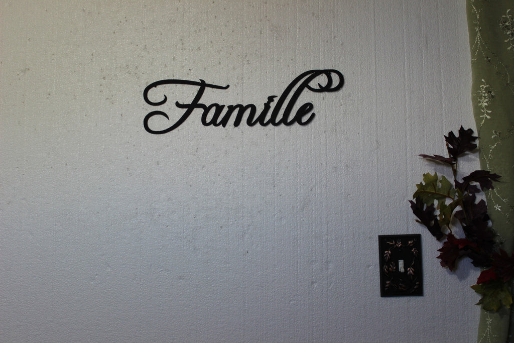 Family Metal Wall Art famille word french word for family home decor metal wall art