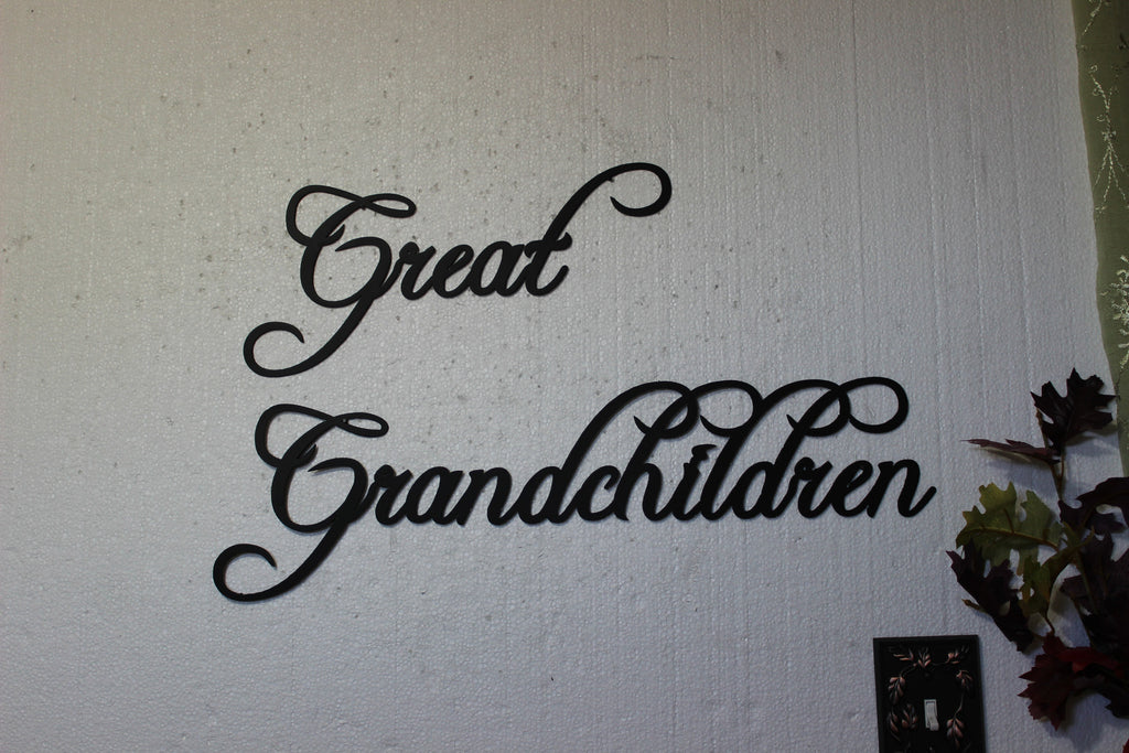 Great Grandchildren Words 2 Piece Set Home Decor Metal Wall Sign
