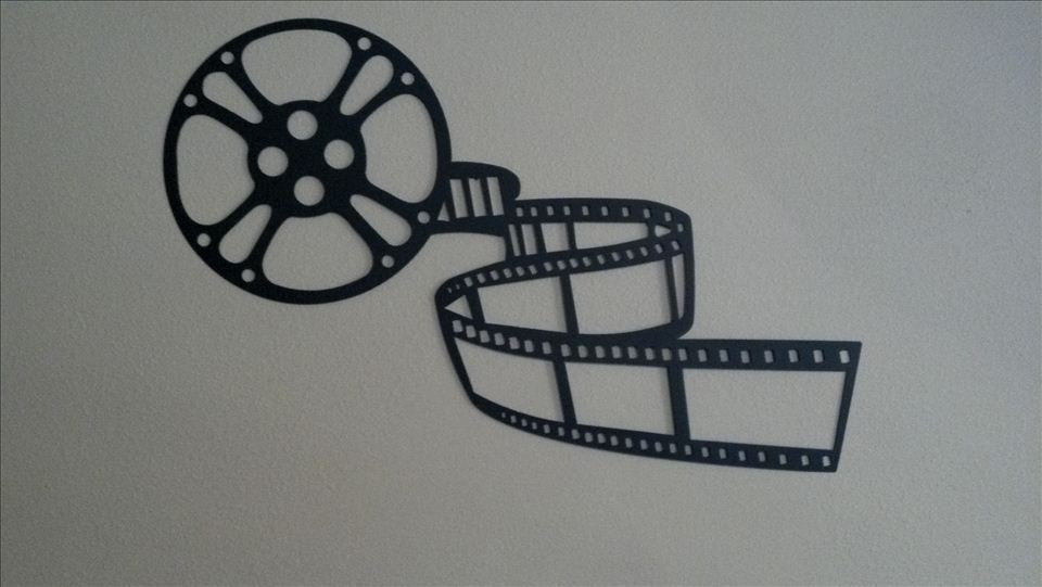 """Movie Reel Wall Decor home theater decor movie reel and film 3ft (36"""" x 24"""") metal wall"""