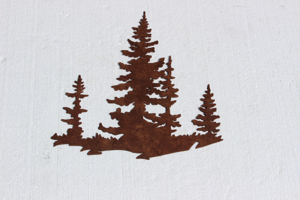Pine Tree Scene Metal Wall Art Country Rustic Decor – Say It All On ...