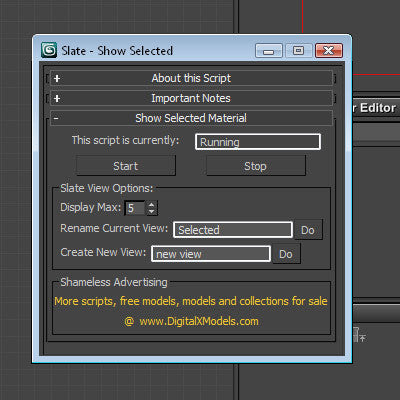 Free Maxscript - Slate - View Selected