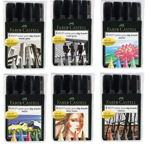 Faber Castell PITT Artist Coloured Ink Pen Sets