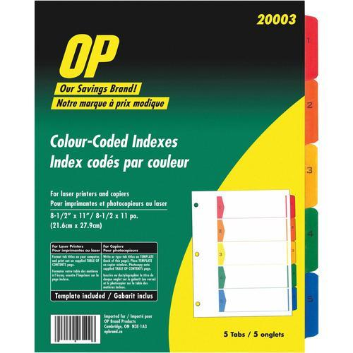 Colour Coded Printable Tabbed Index Dividers