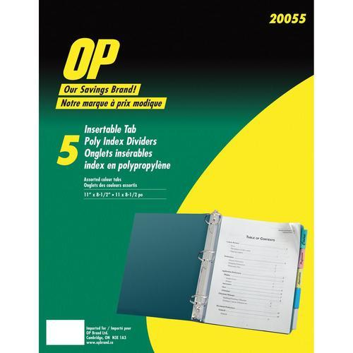 Index Dividers 5-Set Poly Tabs