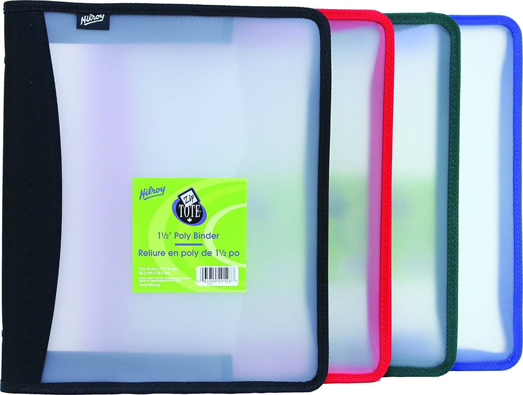 "Zippered Xpanz 1.5"" Clear Poly Binders"