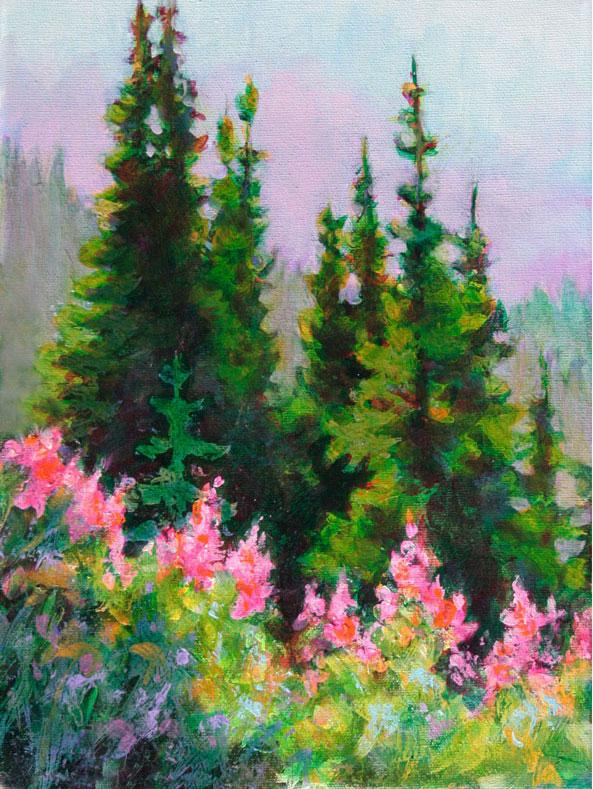 Fireweed and Trees
