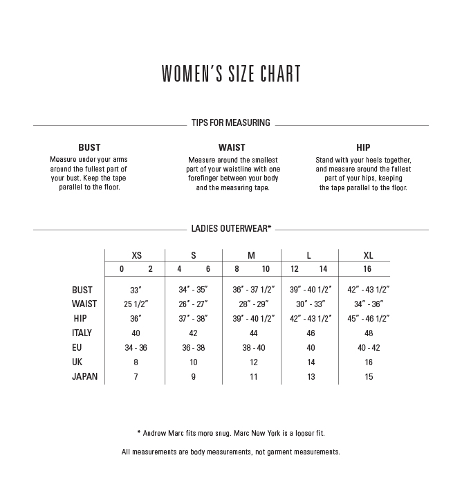 Andrew Marc Shoes Size Chart