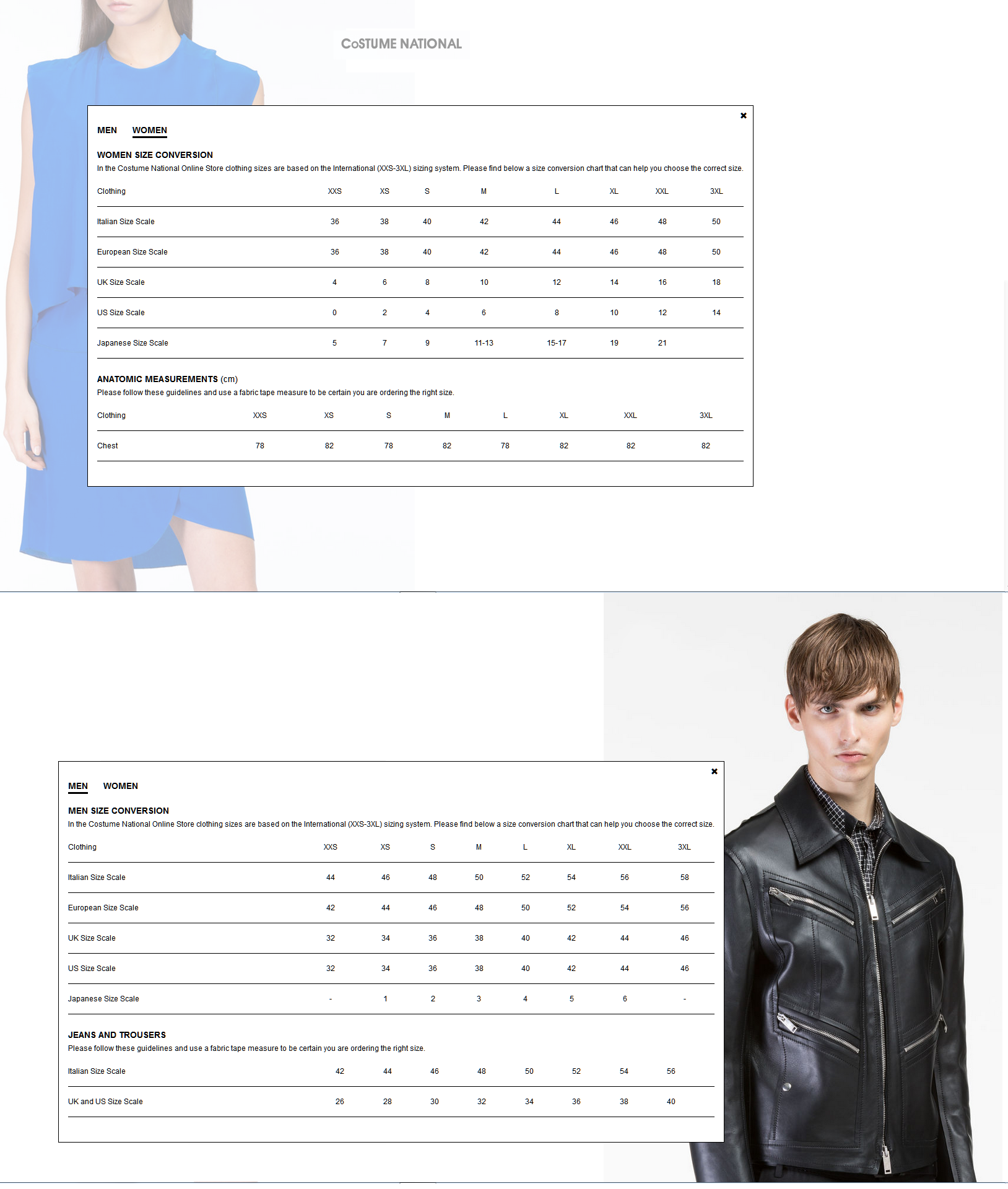 CoSTUME NATIONAL Fit & Sizing Charts for Men & Womens