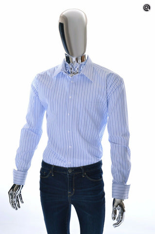 Emanuel Ungaro French Cuff Blue Striped Mens Designer Dress Shirt - Size 17 XL