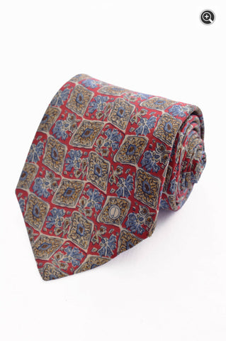 Dunhill Mens Woven Floral Designer 100% Silk Accessory Neck Tie