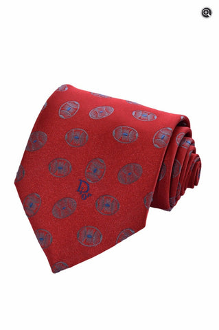 Christian Dior Mens Geometric Medallion Red & Blue Silk Accessory Neck Tie