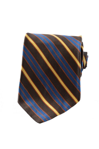 Christian Dior Mens Vintage Diagonal Striped Brown Silk Accessory Neck Tie