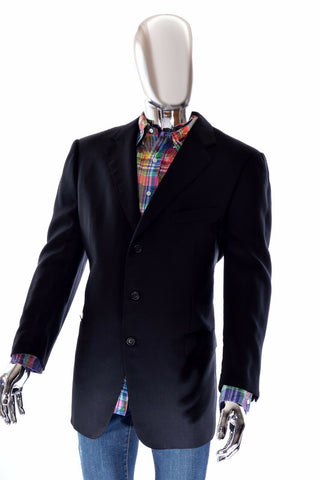 Ermenegildo Zegna Mens High Performance Black Australian Wool Sportcoat 56R 46R