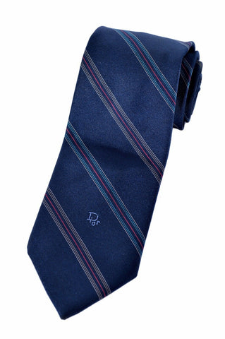 Christian Dior Mens Navy Blue Diagonal Stripe Embroidered Accessory Neck Tie