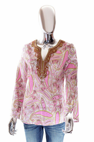 Cynthia Rowley Womens Pink Paisley Embroidered V-Neck Tunic Top Blouse - S