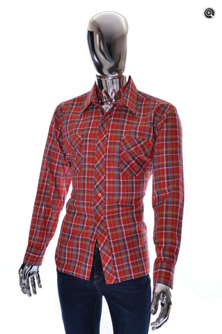 Excellent Mens Vintage Le Havre LS Red Plaid Shirt - Size Large