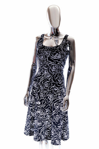 Donna Ricco New York Womens Black & White Floral Rose Sleeveless Dress - Size 10