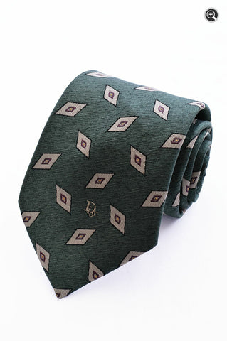 Christian Dior Mens 100% Green Silk Blend Geometric Diamond Accessory Tie