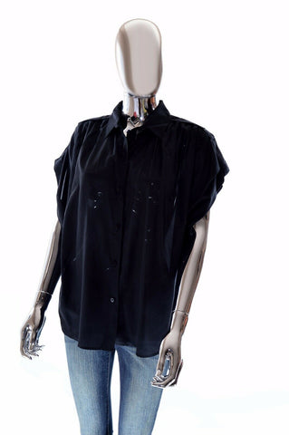 Diane Von Furstenberg DVF Womens Designer Black Silk Blend Blouse Shirt - Small