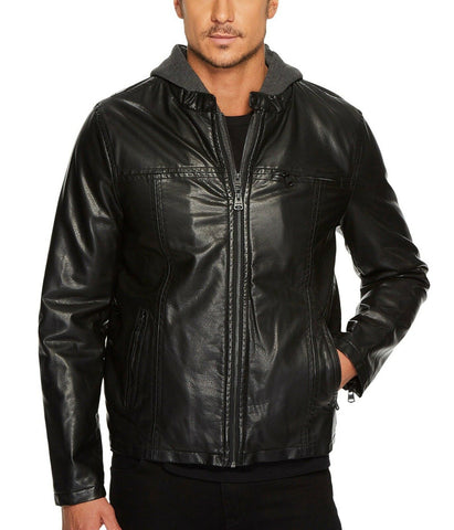 $195 NWT NEW Levis Black Faux Leather Moto Racer Hoody Jacket w/Fleece Lining