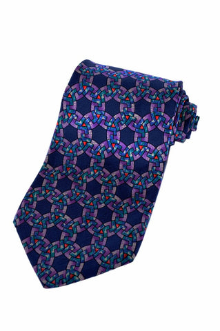 Christian Dior Mens Navy Blue Multi-Color Geometric Silk Accessory Neck Tie