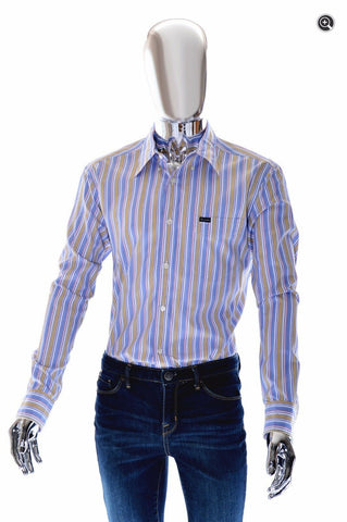 Faconnable Club Collection Mens Vertical Striped Dress Shirt - Size L