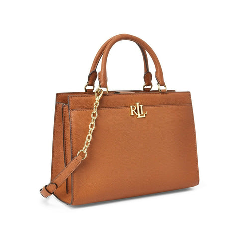 $295 NWT Lauren Ralph Lauren Laine Womens Light Brown Leather Satchel Handbag