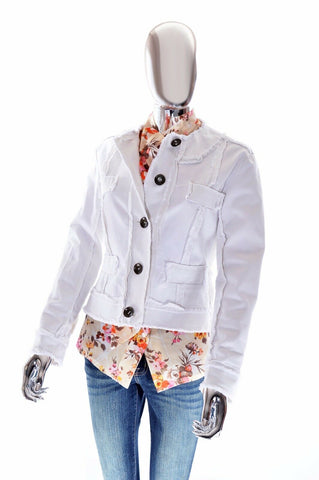 Trina Turk Womens Los Angeles Pure White Stretchy Raw Edge Blazer Jacket - 6