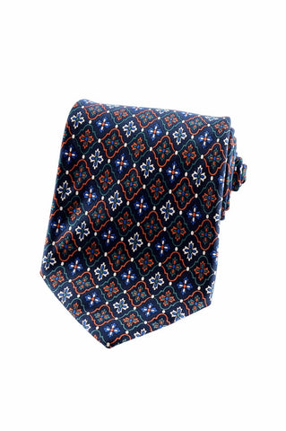 Giorgio Armani Mens 100% Navy Blue Italian Silk Diamond Floral Accessory Tie