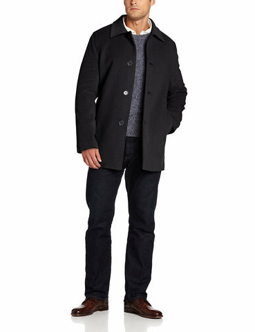 $595 NWT NEW Cole Haan Mens Classic 3-Button Black Cashmere Wool Topcoat